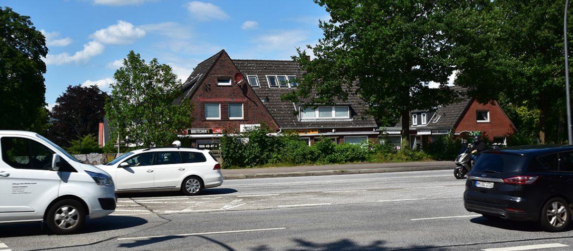 Wohnungen an Ausfallstraßen: Allein an den Hauptausfallstraßen des Bezirks Altona, wie hier an der Osdorfer Landstraße, sieht der Bezirk ein Potenzial von 20.000 Wohnungen durch verdichtete Bebauung mit Geschosswohnungsbau.