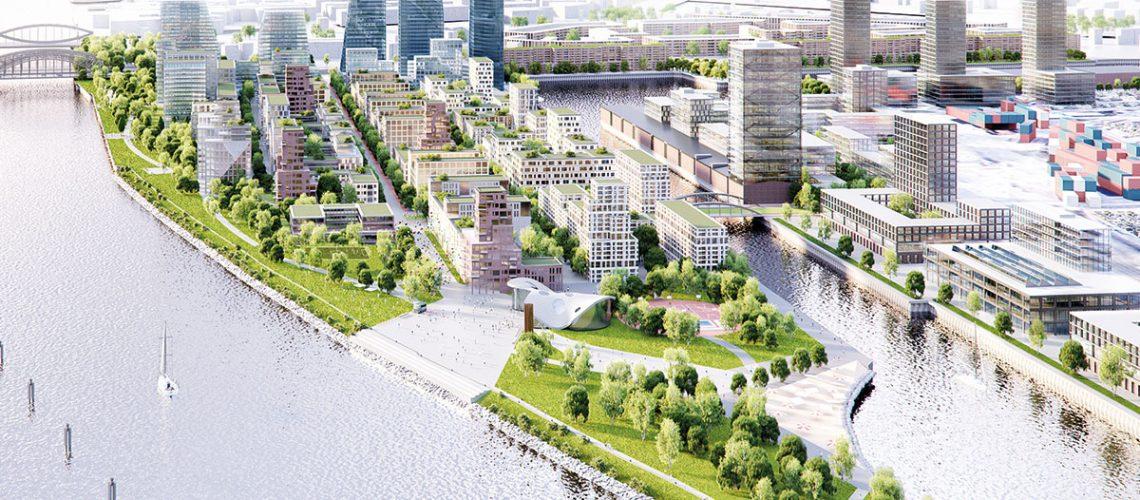 Eine unverbindliche städtebauliche Idee des Kleinen Grasbrook: Bild: Hosoya Schaefer Architects