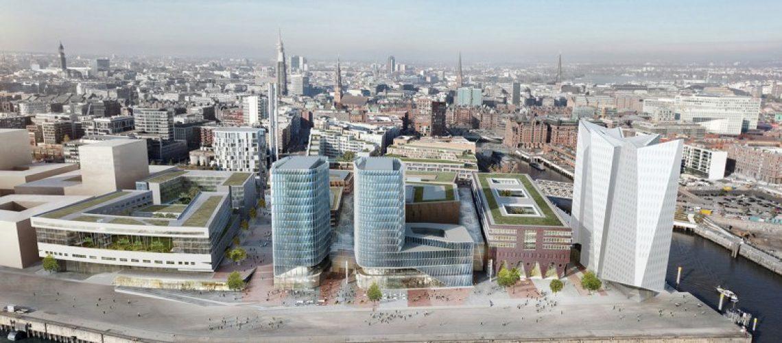 Das überarbeitete Architekturkonzept des südlichen Überseequartiers. Links das Kreuzfahrtterminal, die, wie rechts die Büroskulptur, von dem französischen Architekten Christian de Portzamparc entworfen wurde. Bild: HafenCity Hamburg