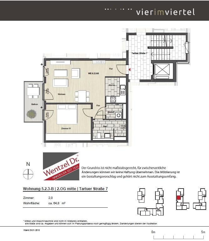 Schicke 2 Zimmer Wohnung im Hanseviertel - Grundriss