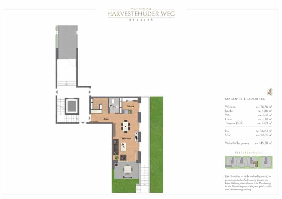 Terrassen-Maisonette am Alsterpark - Erstbezg mit Bad en Suite und großer Ankleide! - Grundriss 1