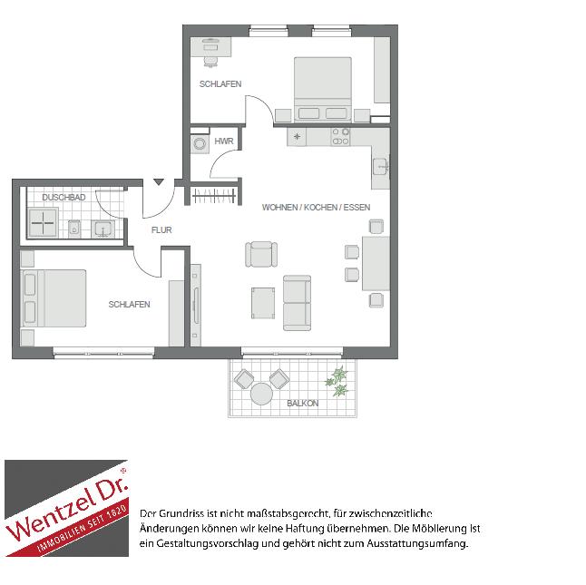 Moderne Wohnung mit offener Wohnküche und idealem Schnitt - Grundriss