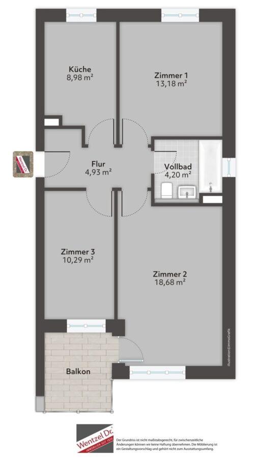 Gemütliche 3-Zimmer-Wohnung in Hannover - Grundriss