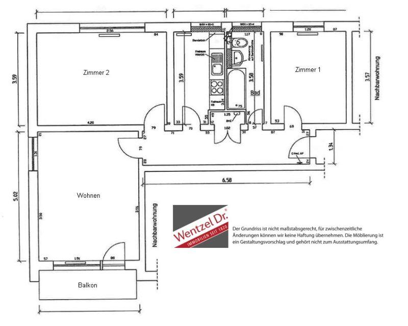 3-Zimmerwohnung mit Balkon und tollem Ausblick über Wedel - Grundriss