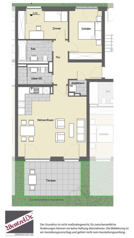 Geräumige Neubauwohnung mit Terrasse - Grundriss