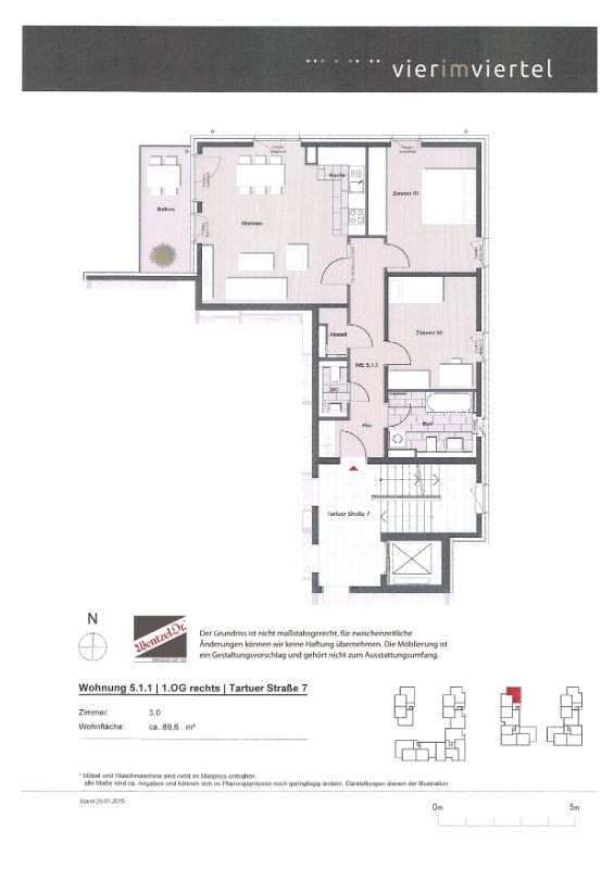 Schöne, lichtdurchflutete Wohnung im HanseViertel - Grundriss