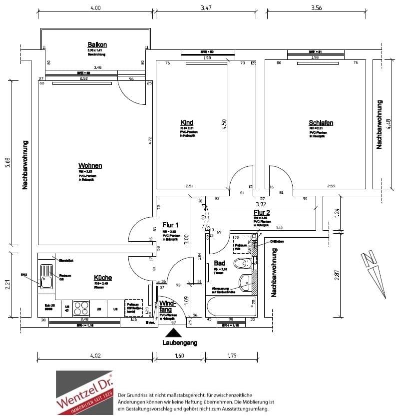 Frisch modernisierte 3 Zimmer Wohnung mit tollem Ausblick - Grundriss