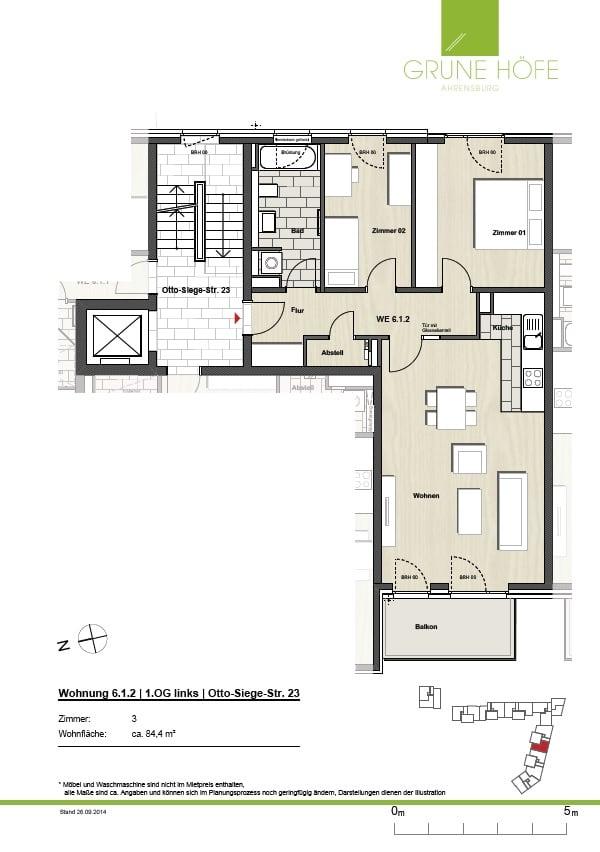 Im Herzen von Ahrensburg! Schicke Neubauwohnung mit Balkon! - Grundriss