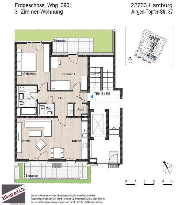 Wohnung mit Süd Terrasse und offener Wohnküche! - Grundriss