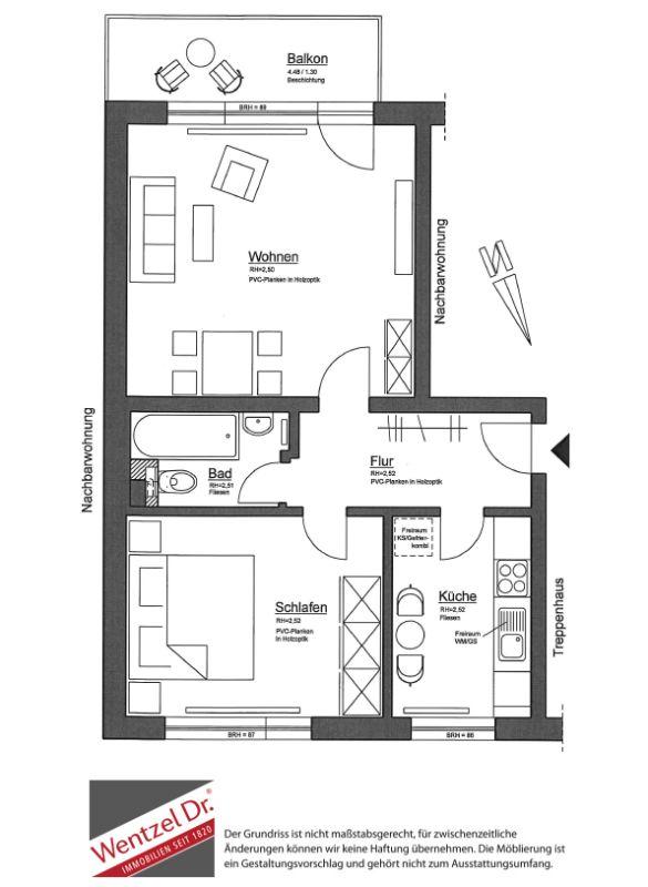 Bereits modernisiert - Schöne Wohnung mit Balkon - Grundriss