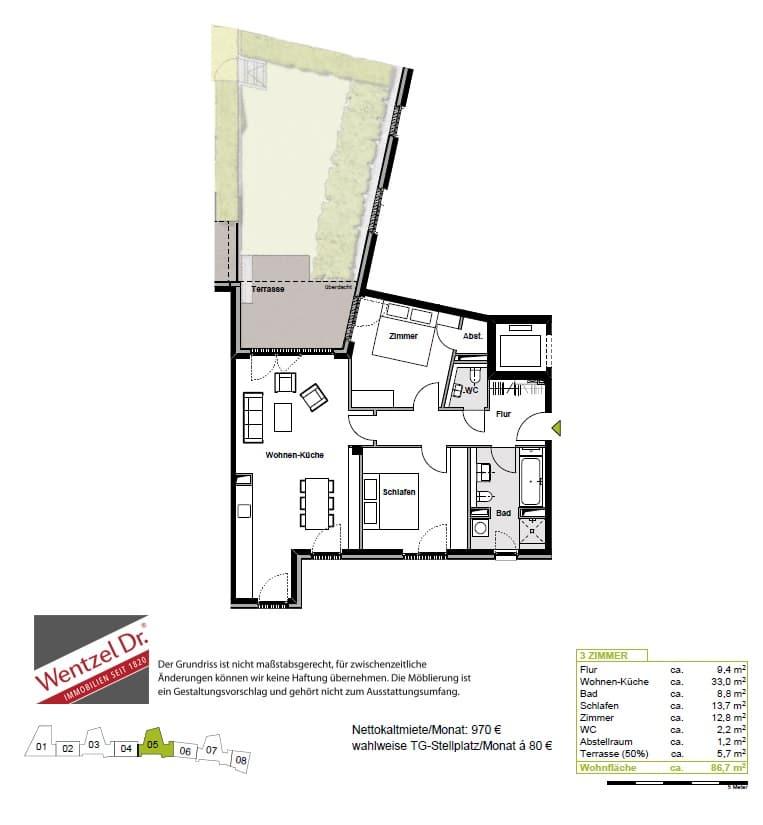 Wohnen im Grünen mit schöner Terrasse und eigenem Garten! - Grundriss