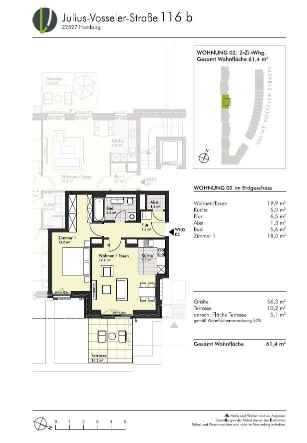 Kompakte 2 Zimmer Wohnung mit Garten! - Grundriss