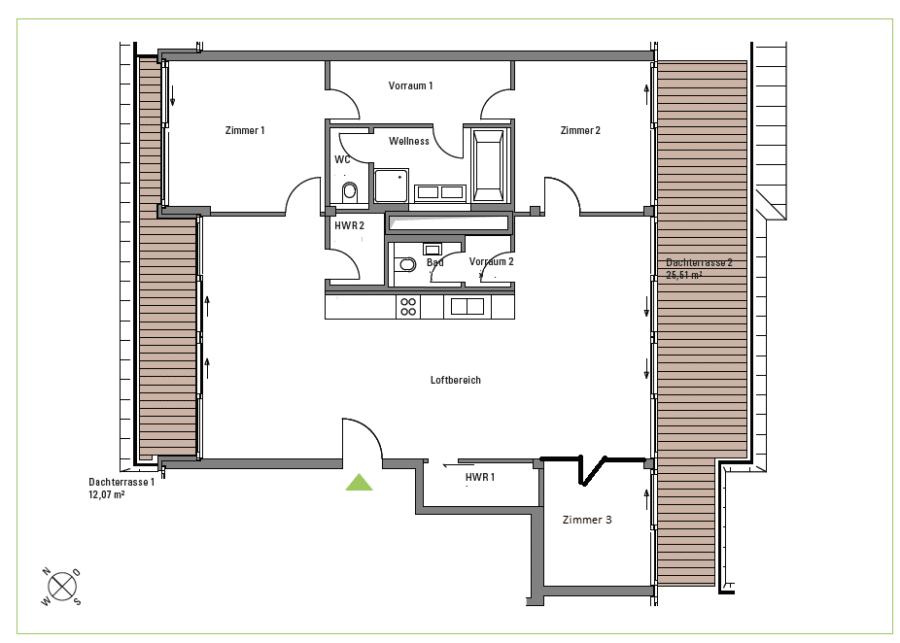 4 Zimmerwohnung mit Dachterrasse - Grundriss