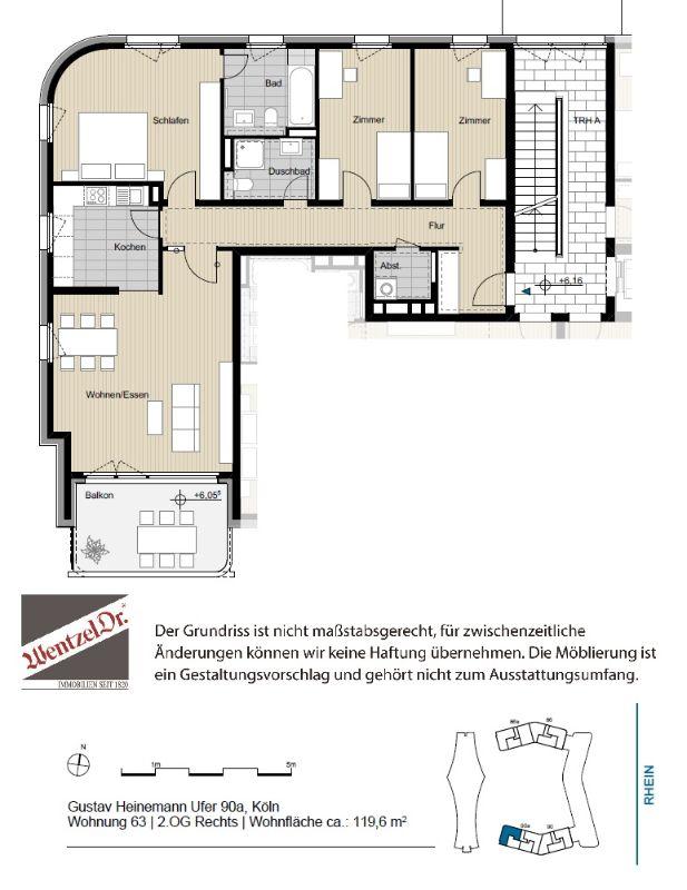 Großzügige und helle 4 Zimmer Wohnung mit Süd-Balkon - Grundriss