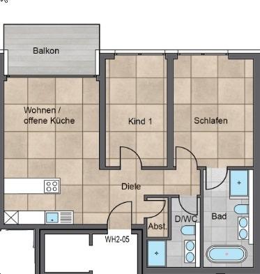 Gemütliche 3 Zimmerwohnung mit Balkon - Grundriss