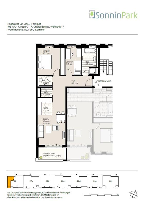 Anklicken, Besichtigen, Anmieten! Schicke Wohnung für eine kleine Familie! - Grundriss