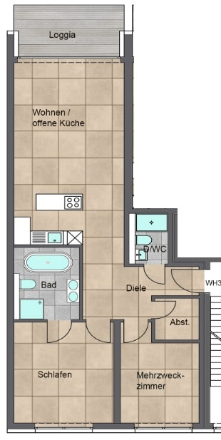Moderne 3 Zimmer Wohnung mit Balkon - Grundriss